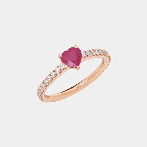 Fedina in oro rosa con diamanti e rubino taglio cuore - Rosanna Cattolico gioielli