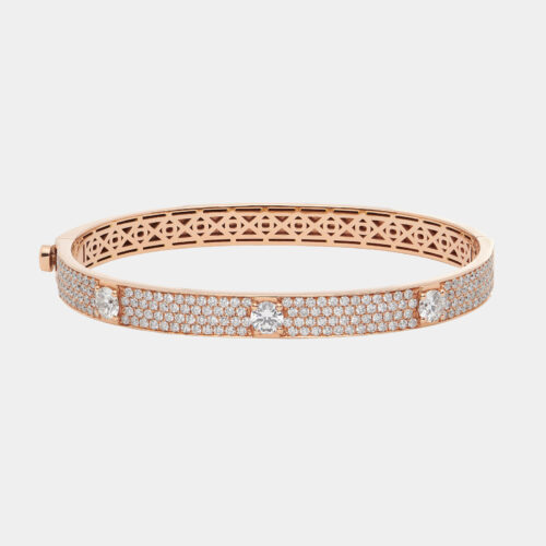 Bracciale manetta in oro rosa e diamanti - Rosanna Cattolico gioielli