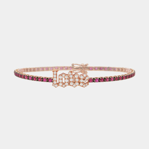 Bracciale tennis in oro rosa e rubini con LOVE in diamanti