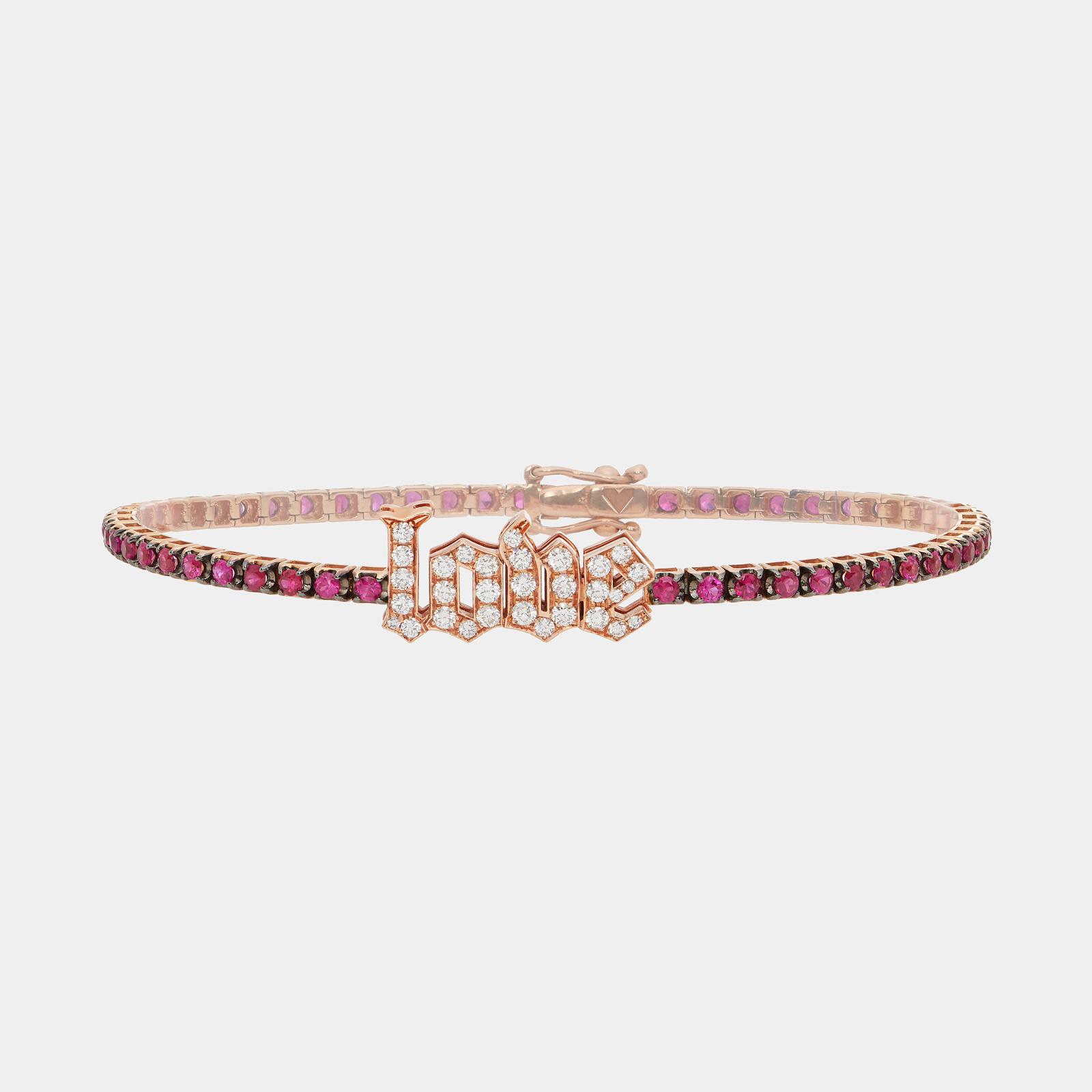 Bracciale tennis in oro rosa e rubini con LOVE in diamanti