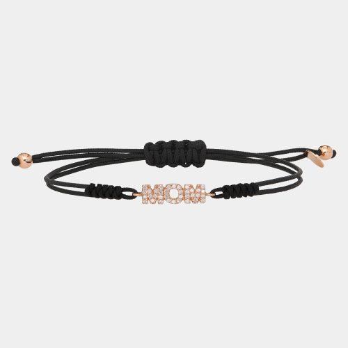Bracciale con cordino personalizzato in oro rosa e diamanti - Rosanna Cattolico gioielli