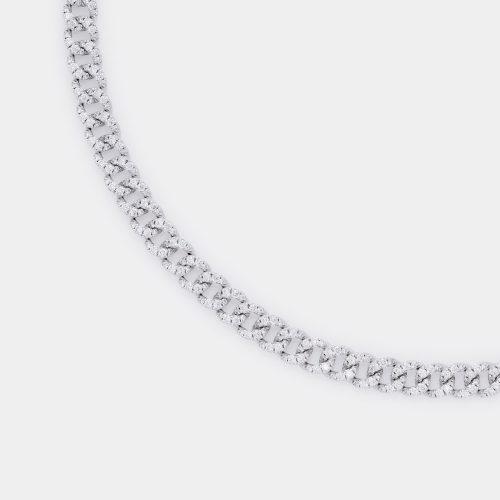 Girocollo groumette in oro bianco e diamanti - Rosanna Cattolico gioielli