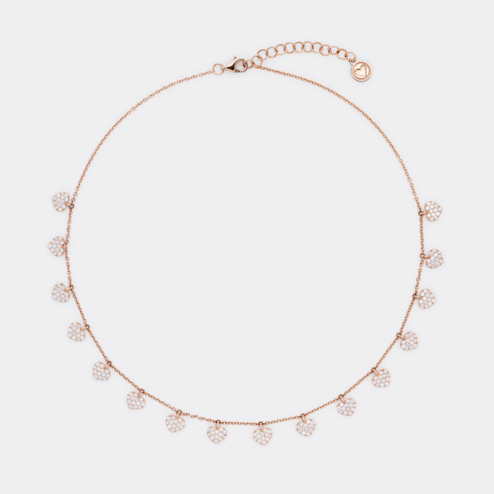 Girocollo in oro rosa con cuoricini in diamanti - Rosanna Cattolico gioielli