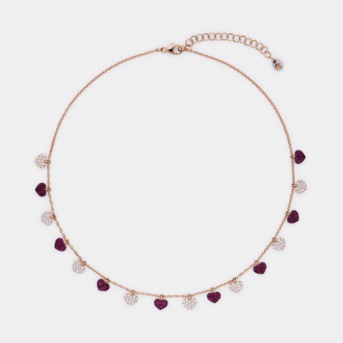 Girocollo in oro rosa con cuoricini in diamanti e rubini - Rosanna Cattolico gioielli