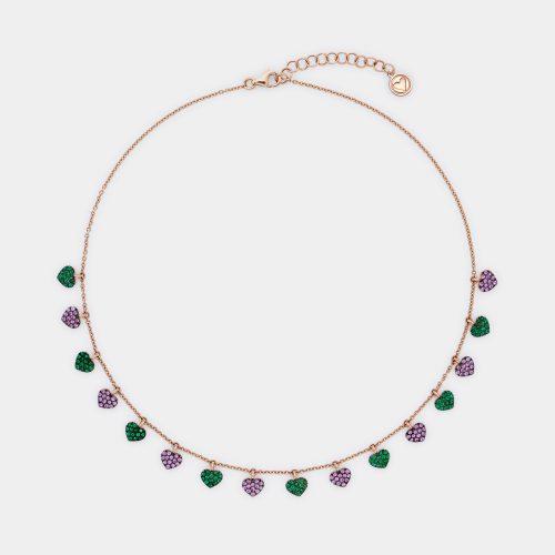 Girocollo in oro rosa con cuoricini in smeraldi e zaffiri rosa - Rosanna Cattolico gioielli