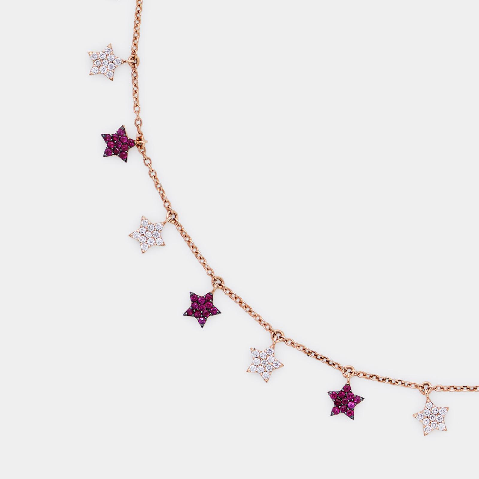 Girocollo in oro rosa con stelline in diamanti e rubini - Rosanna Cattolico gioielli