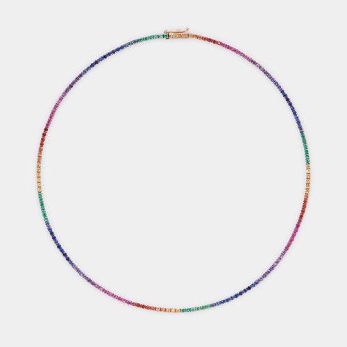 Girocollo tennis multicolor in oro rosa, smeraldi e zaffiri - Rosanna Cattolico gioielli