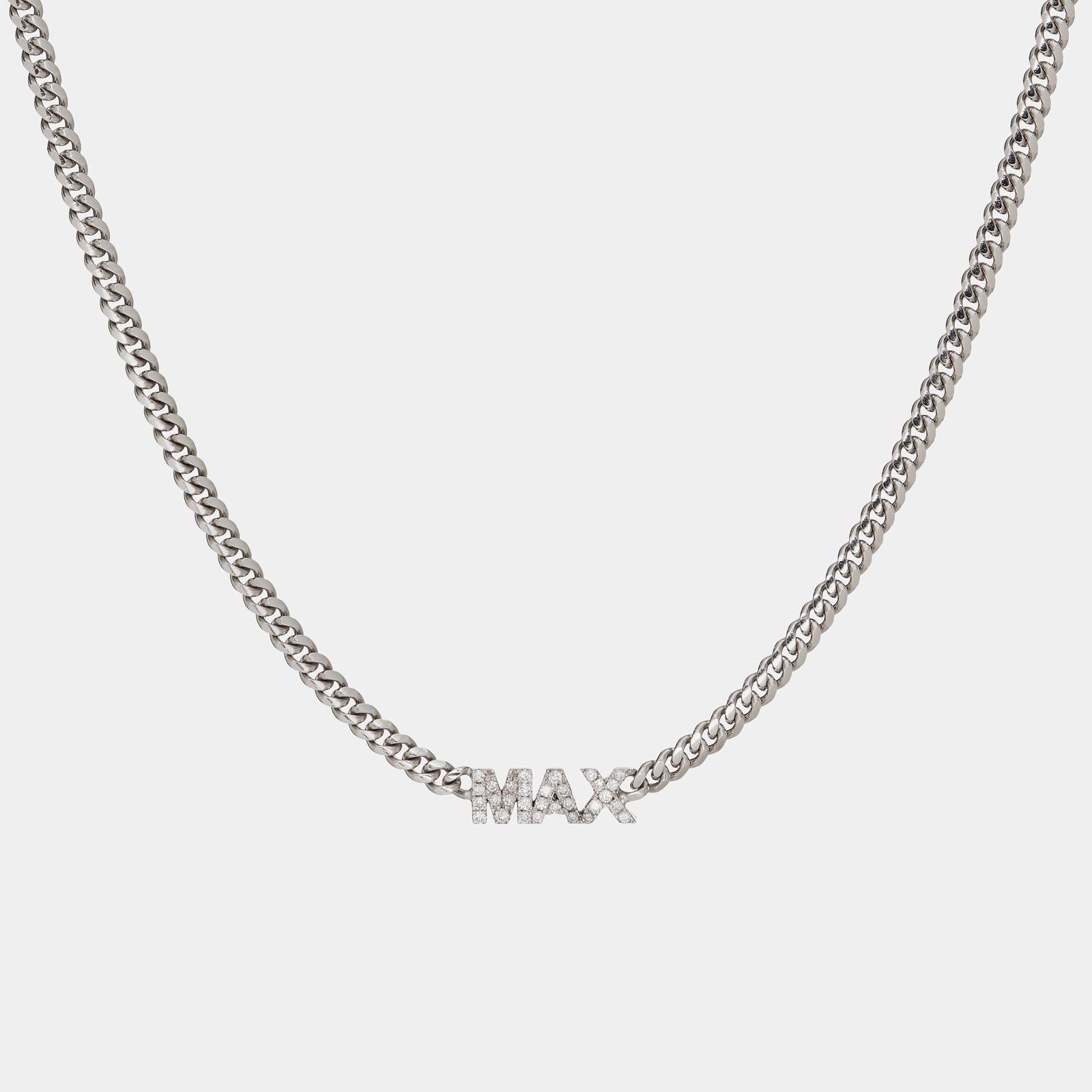 Collana piccola groumette personalizzata in oro bianco e diamanti bianchi - Rosanna Cattolico gioielli