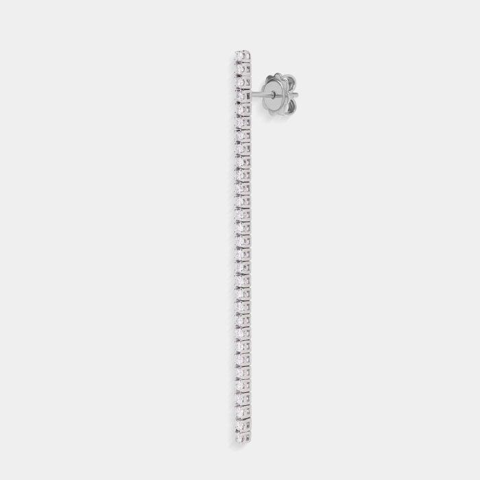 Mono Orecchino pendente lungo tennis in oro bianco e diamanti - Rosanna Cattolico gioielli