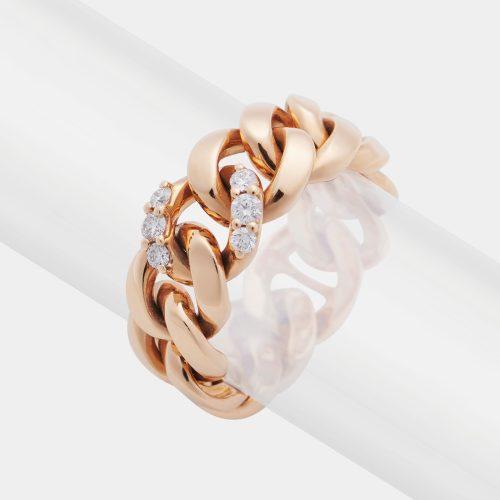 Anello groumette in oro rosa e diamanti Rosanna Cattolico gioielli