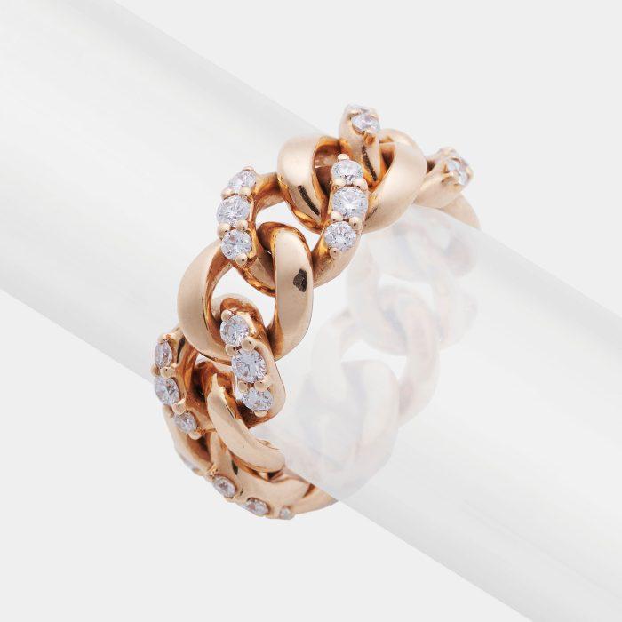 Anello groumette in oro rosa e diamanti - Rosanna Cattolico gioielli