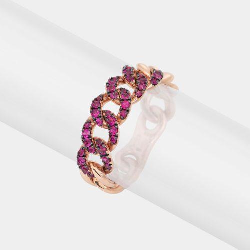 Anello maglia groumette in oro rosa e rubini - Rosanna Cattolico gioielli