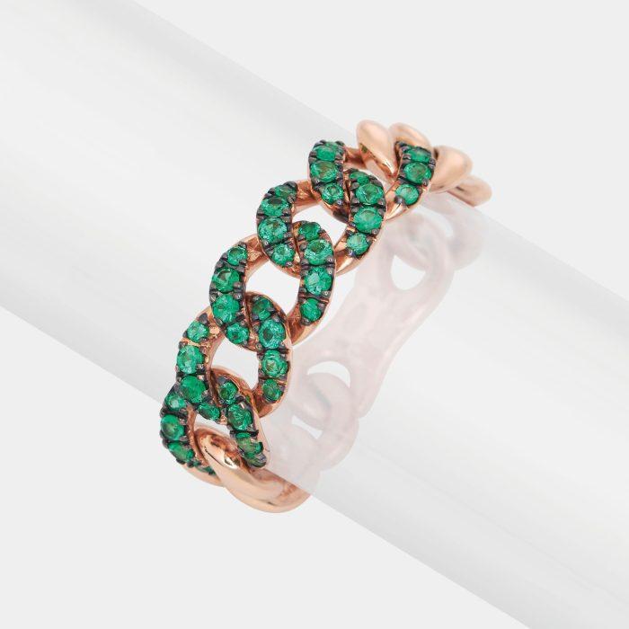 Anello maglia groumette in oro rosa e smeraldi - Rosanna Cattolico gioielli