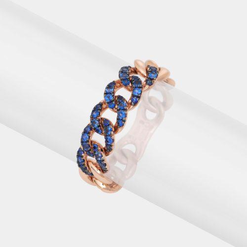 Anello maglia groumette in oro rosa e zaffiri blu - Rosanna Cattolico gioielli