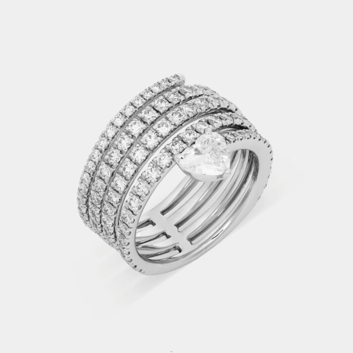 Anello serpente in oro bianco con diamanti e solitario taglio cuore - Rosanna Cattolico gioielli