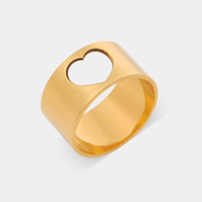 Anello fascia in oro giallo con cuore traforato - Rosanna Cattolico gioielli