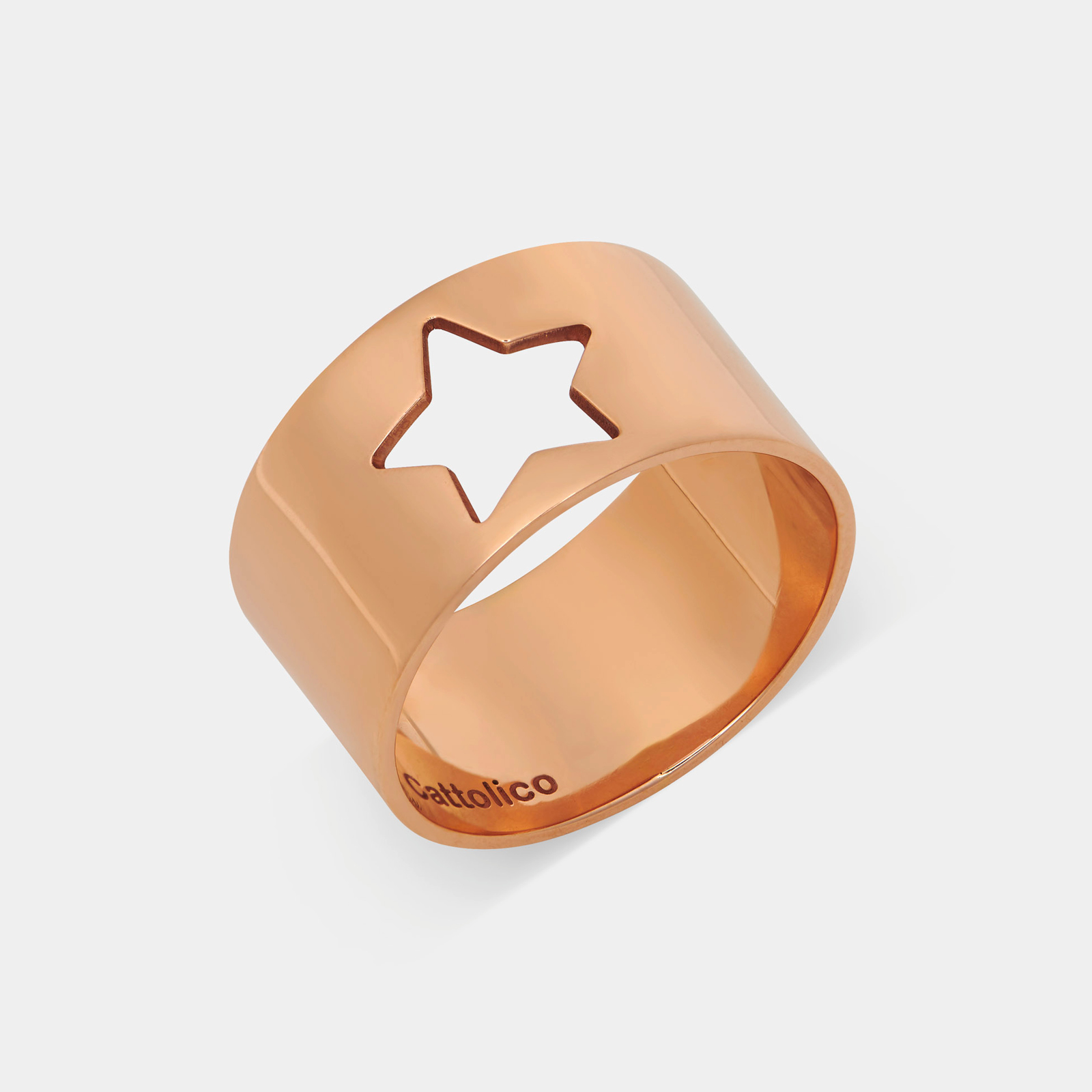Anello fascia in oro rosa con stella traforata - Rosanna Cattolico gioielli