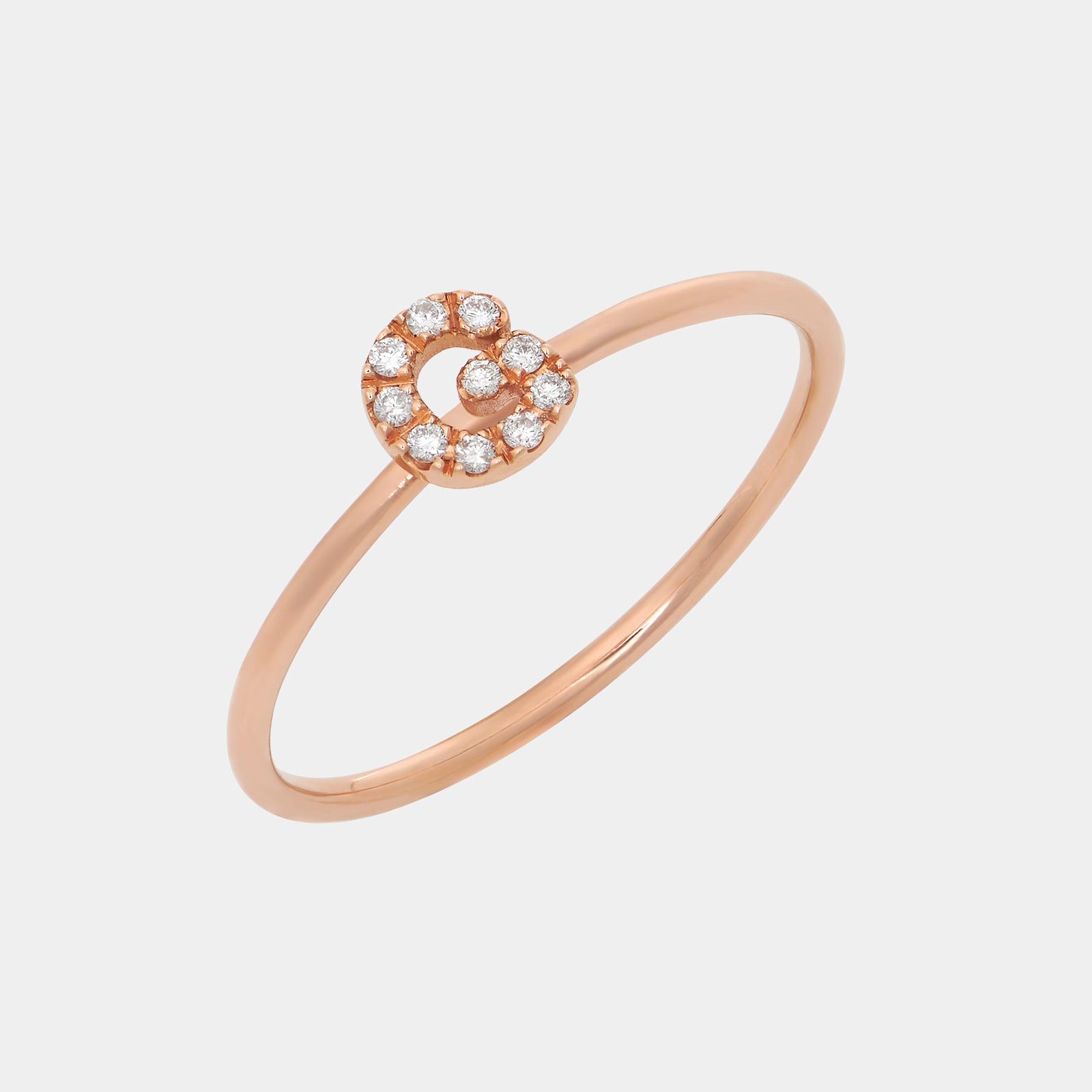 Fedina in oro rosa con letterina in diamanti - Rosanna Cattolico gioielli