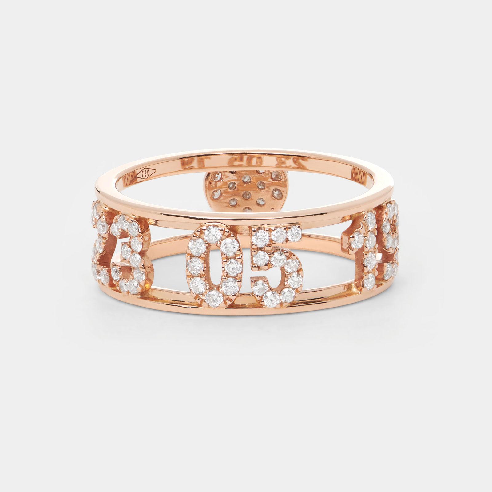 Anello fascia portbonheur personalizzato in oro rosa e diamanti - Rosanna Cattolico gioielli