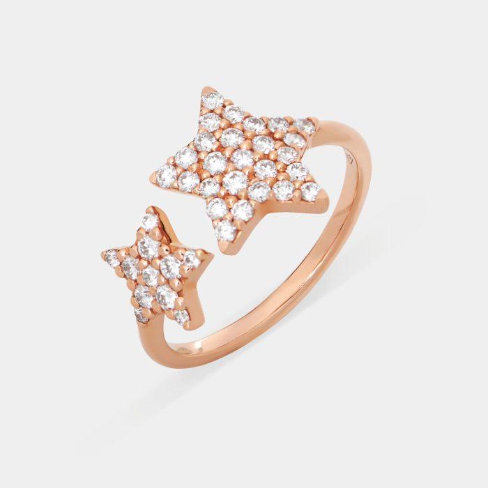 Anello in oro rosa e stelle in diamanti - Rosanna Cattolico gioielli