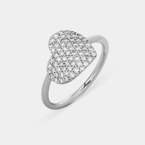 Anello cuore in oro bianco e pavè di diamanti - Rosanna Cattolico gioielli