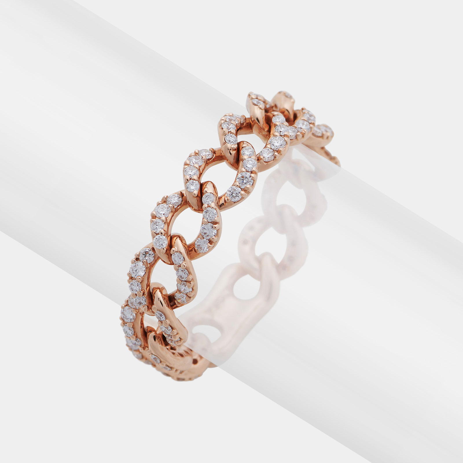 Anello groumette girodito in oro rosa con diamanti - Rosanna Cattolico gioielli