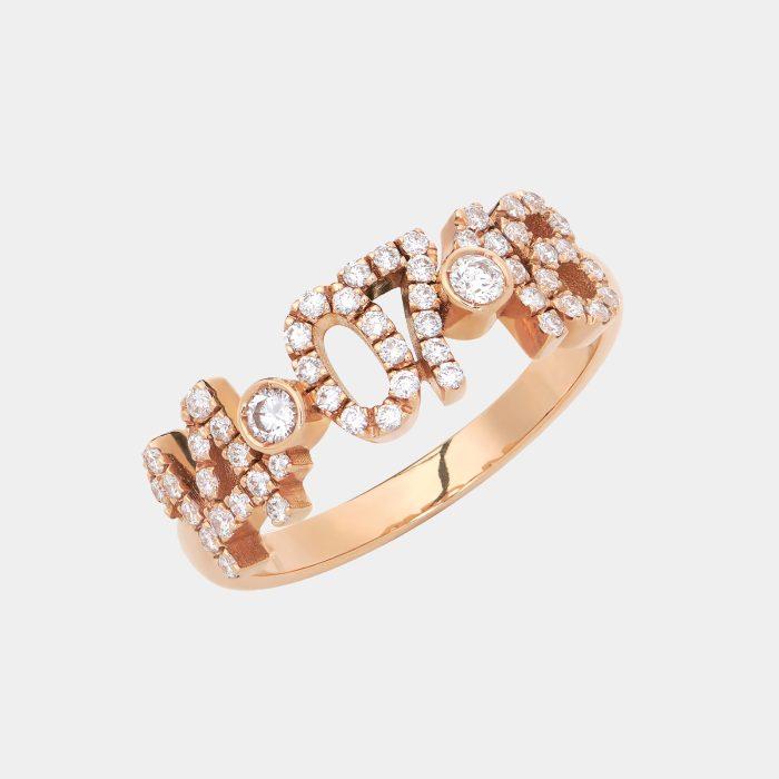 Fedina in oro rosa personalizzata con diamanti bianchi - Rosanna Cattolico gioielli