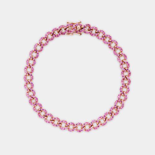 Bracciale maglia groumette in oro rosa e zaffiri rosa - Rosanna Cattolico gioielli