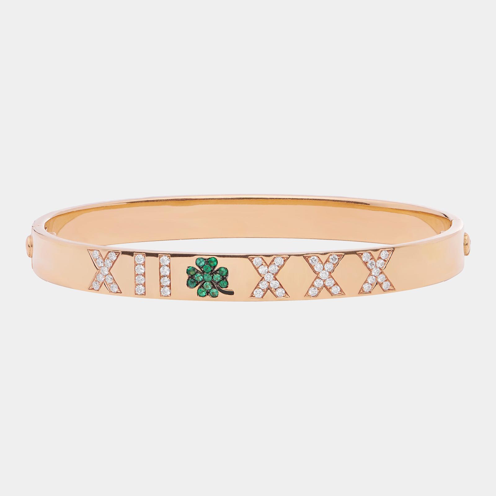 Bracciale manetta personalizzato portebonheur in oro rosa con diamanti e smeraldi - Rosanna Cattolico gioielli