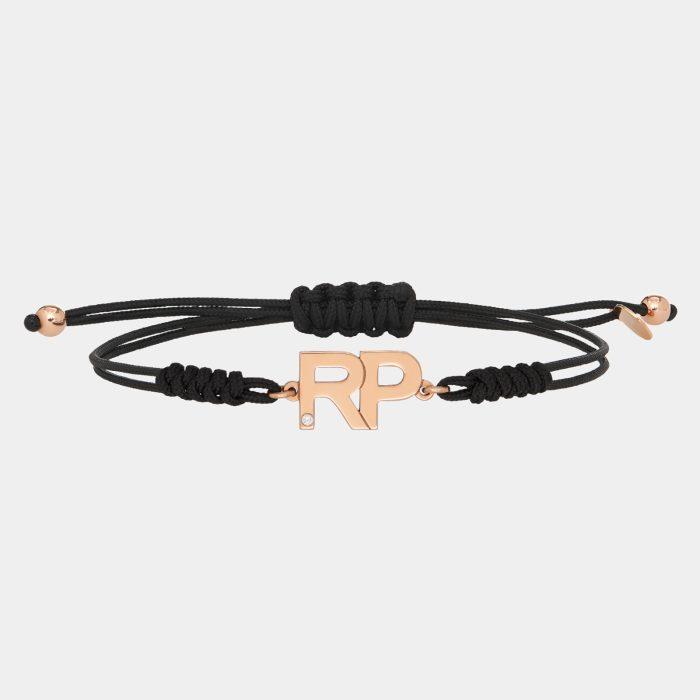 Bracciale cordino personalizzato con lettere in oro rosa e diamante - Rosanna Cattolico gioielli