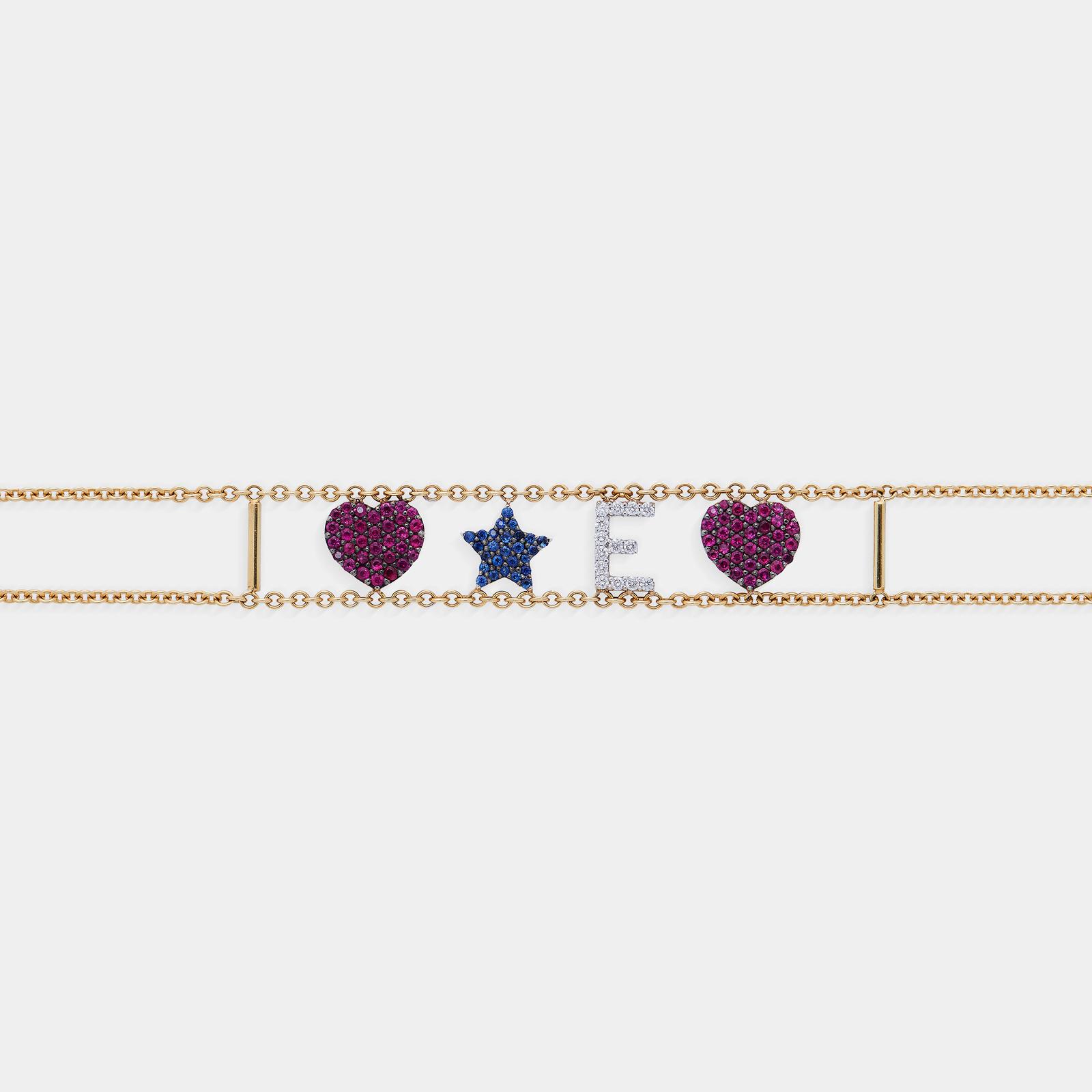 Bracciale morbido con doppia catena personalizzato in oro giallo diamanti, rubini e Zaffiri - Rosanna Cattolico gioielli