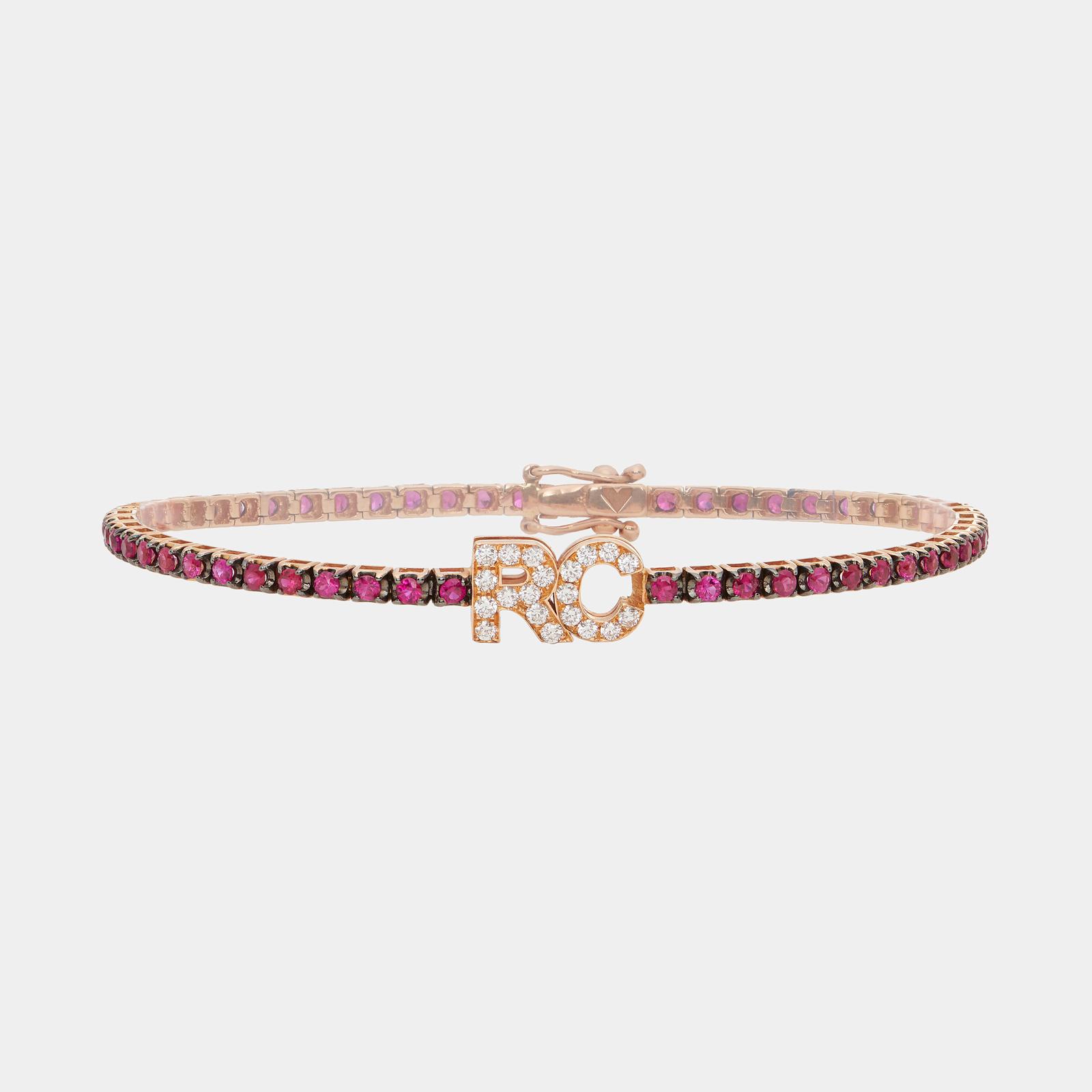 Bracciale tennis personalizzato in oro rosa e rubini con lettere in diamanti Rosanna Cattolico gioielli