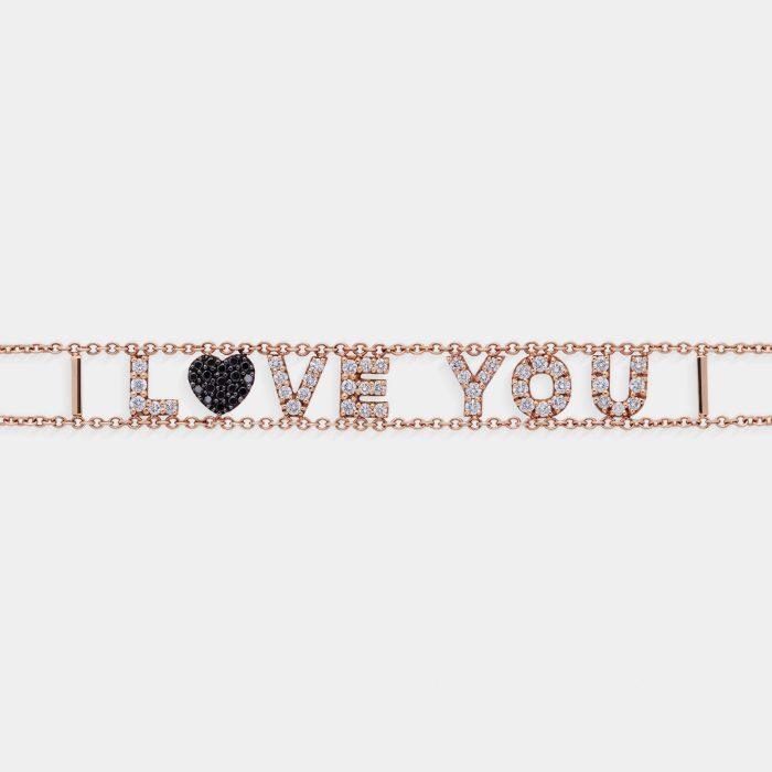 Bracciale morbido con doppia catena personalizzato in oro rosa diamanti - Rosanna Cattolico gioielli