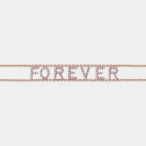 Bracciale morbido con doppia catena personalizzato in oro rosa e diamanti - Rosanna Cattolico gioielli