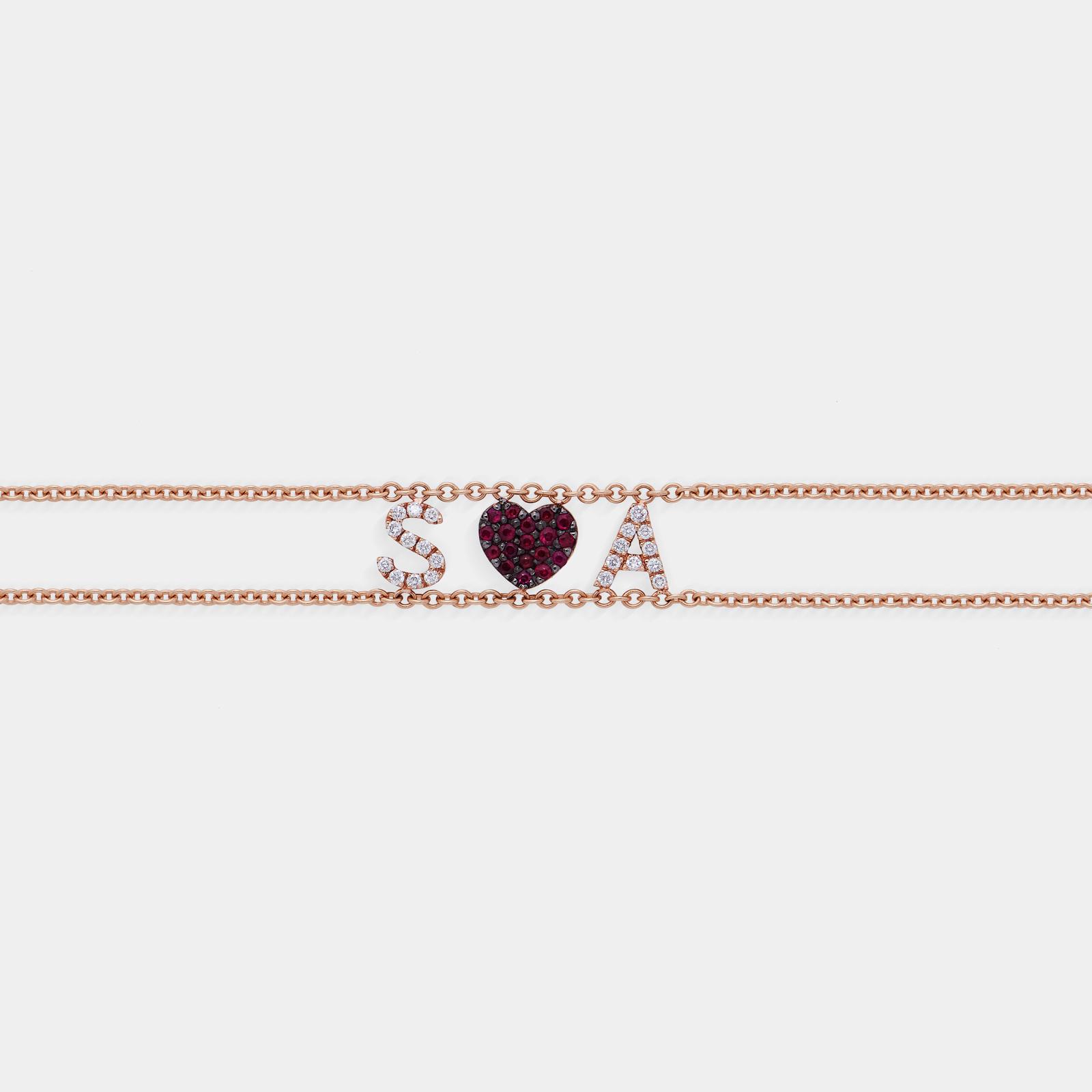 Bracciale morbido con doppia catena personalizzato in oro rosa diamanti e rubini - Rosanna Cattolico gioielli