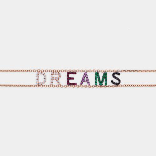 Bracciale morbido con doppia catena personalizzato in oro rosa diamanti, zaffiri e smeraldi - Rosanna Cattolico gioielli