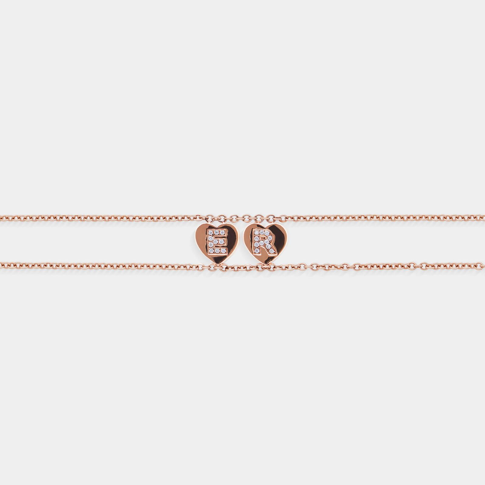 Bracciale morbido con doppia catena personalizzato in oro rosa con cuori - Rosanna Cattolico gioielli