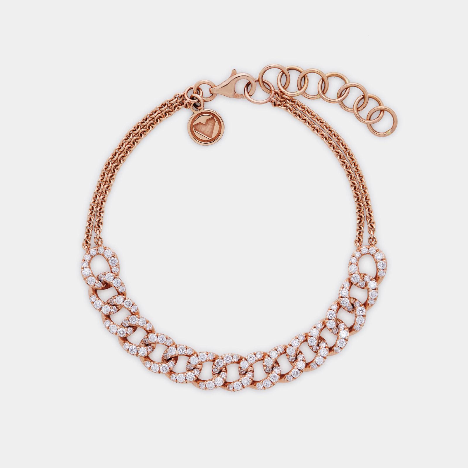 Bracciale morbido groumette e catena in oro rosa e diamanti - Rosanna Cattolico gioielli