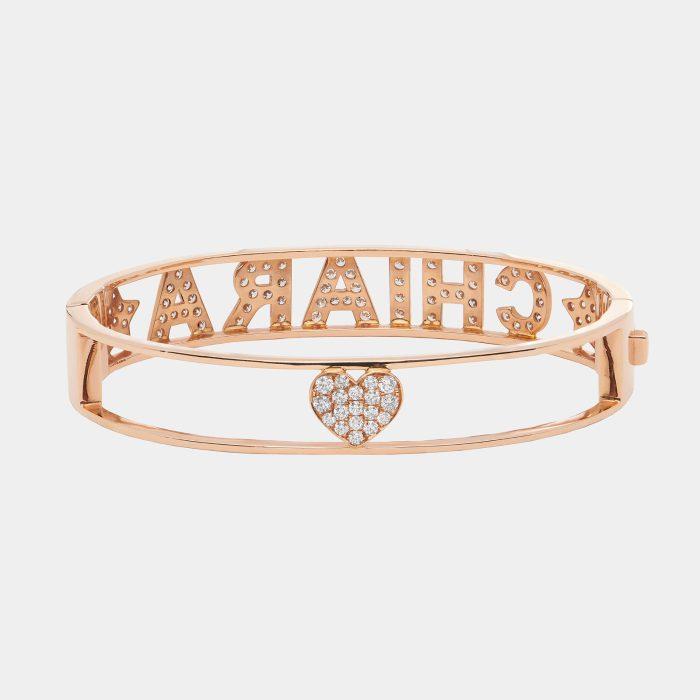 Bracciale manetta personalizzato portebonheur in oro rosa e diamanti - Rosanna Cattolico gioielli