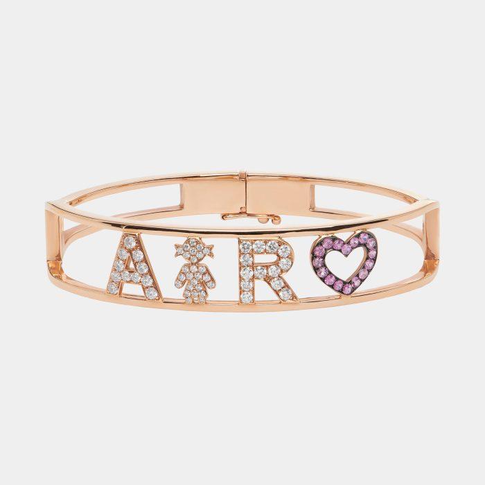Bracciale manetta personalizzato in oro rosa diamanti e zaffiri- Rosanna Cattolico gioielli