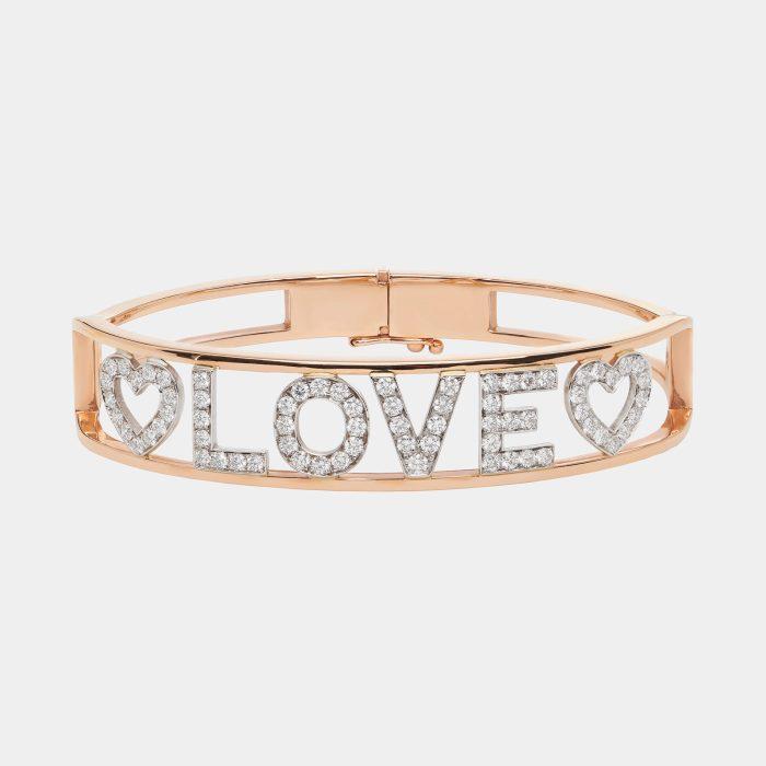 Bracciale manetta portebonheur LOVE in oro rosa diamanti - Rosanna Cattolico gioielli