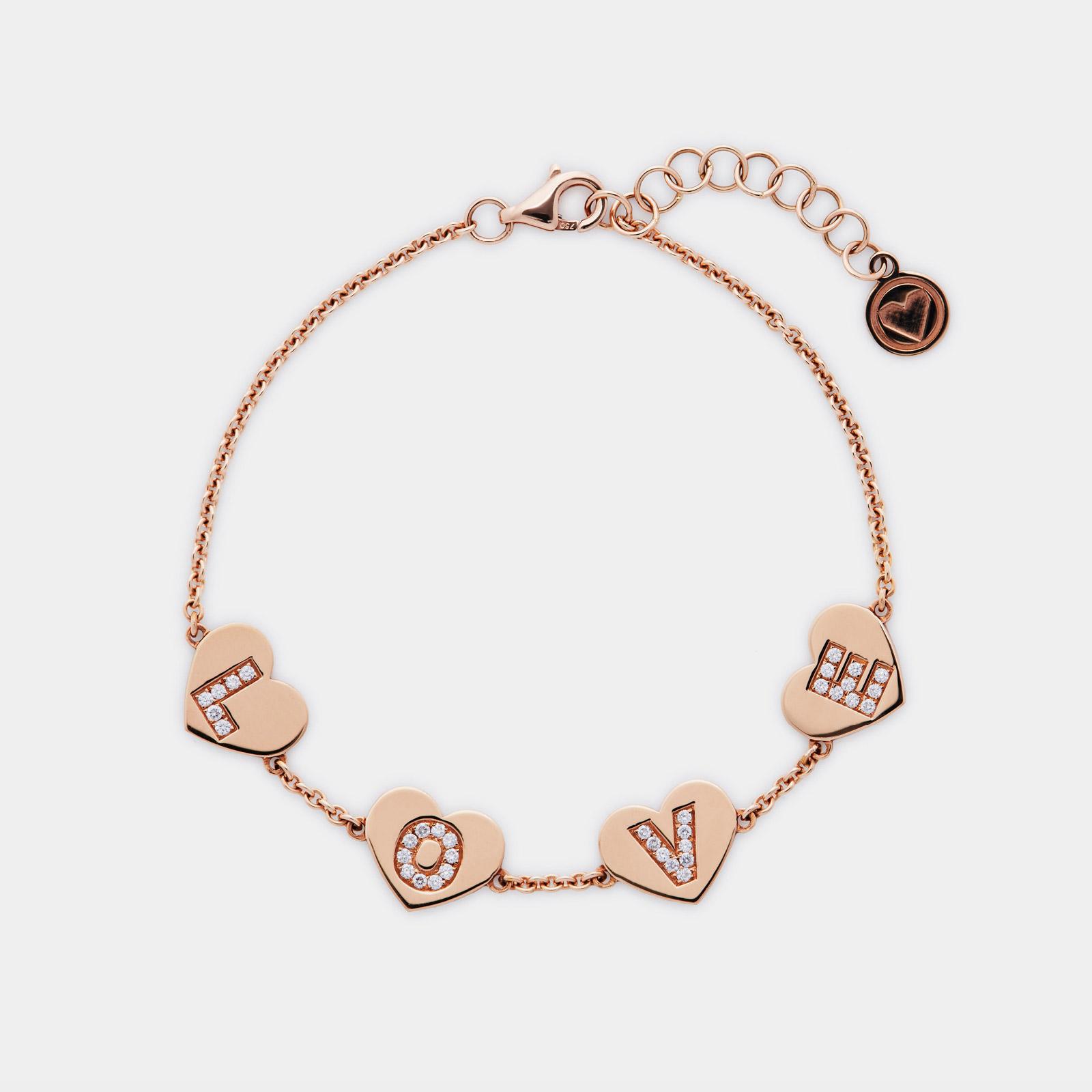 Bracciale Love in oro rosa con cuori e lettere in diamanti - Rosanna Cattolico gioielli