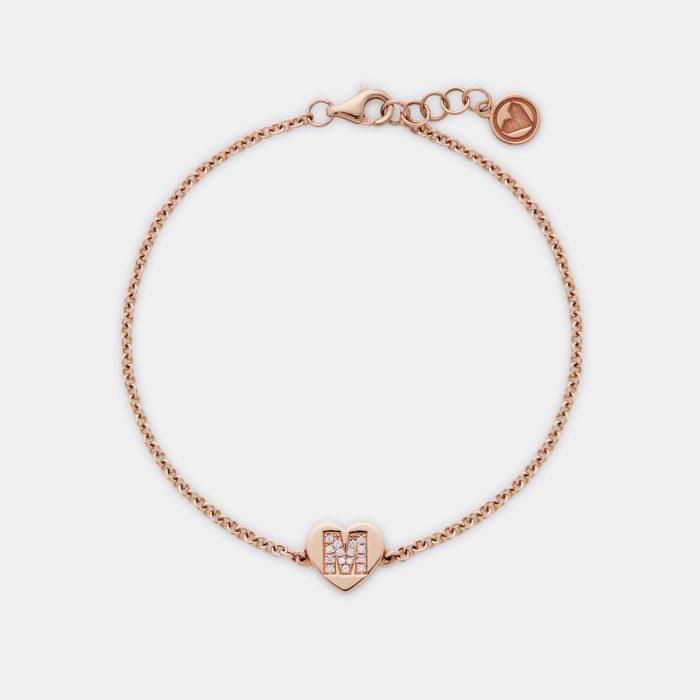 Bracciale cuore personalizzato in oro rosa e letterina in diamanti - Rosanna Cattolico gioielli