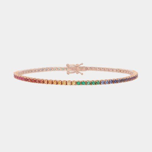 Bracciale tennis in oro rosa con zaffiri multicolor e smeraldi-Rosanna Cattolico gioielli