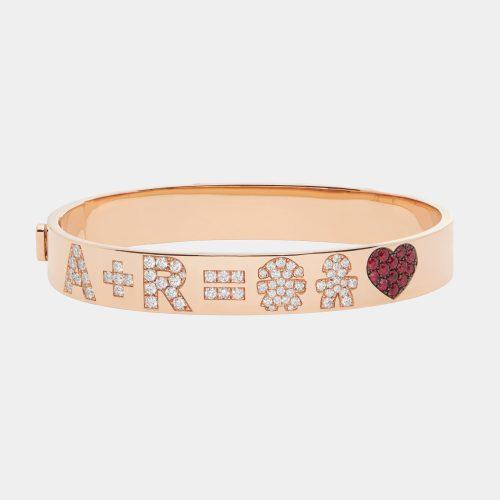 Bracciale manetta rigido personalizzato in oro rosa con diamanti e rubini-Rosanna Cattolico gioielli