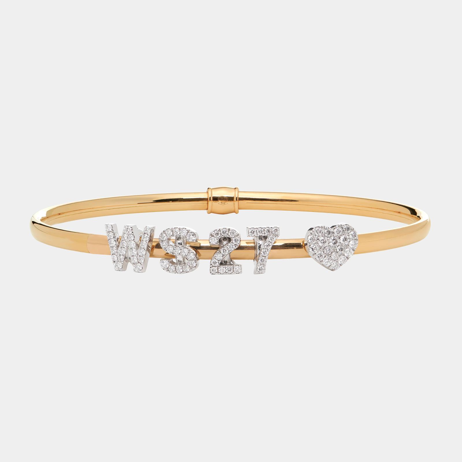 Bracciale rigido componibile in oro bianco personalizzabile con lettere singole in brillanti - Rosanna Cattolico gioielli