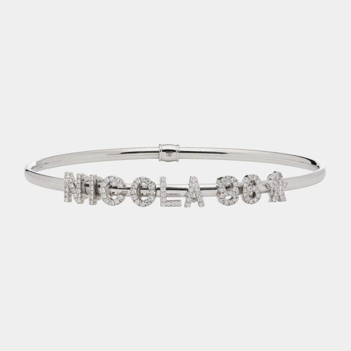 Bracciale rigido componibile in oro bianco personalizzabile e con lettere singole in brillanti - Rosanna Cattolico gioielli