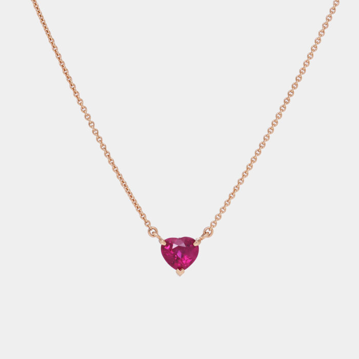 Collana cuore pendente in oro rosa e rubino - Rosanna Cattolico gioielli