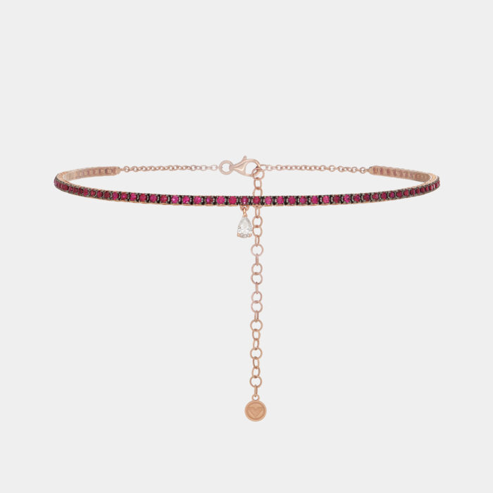Choker modello tennis in oro rosa brunito con rubini e goccia in diamante bianco - Rosanna Cattolico gioielli