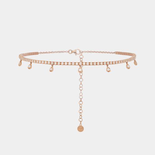 Choker con gocce pendenti in oro rosa e diamanti- Rosanna Cattolico gioielli